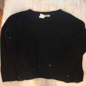 NWT Cotton Emporium Small Black Distressed Sweater